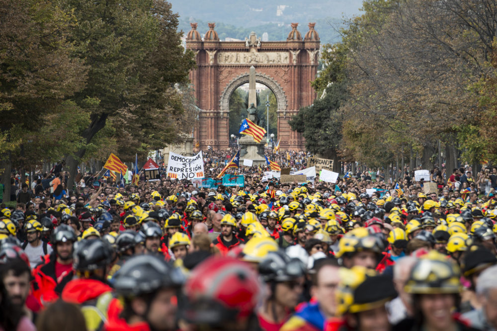 Photo d'une manifestation en Catalogne